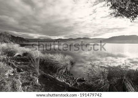 Peaceful black and white dusk scene - Tasmania, Australia - stock photo