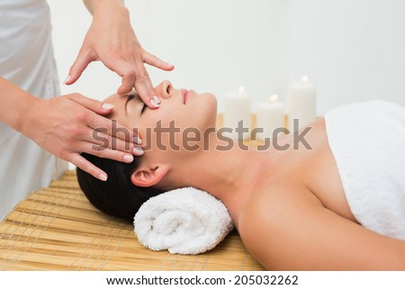 Peaceful brunette enjoying a facial massage in the health spa - stock photo