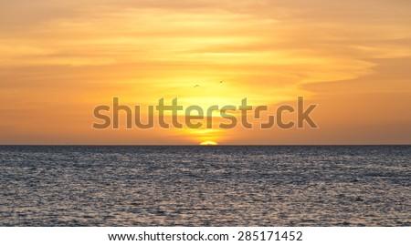 Peaceful Caribbean sea sunset in Paria peninsula, in north-eastern Venezuela. - stock photo
