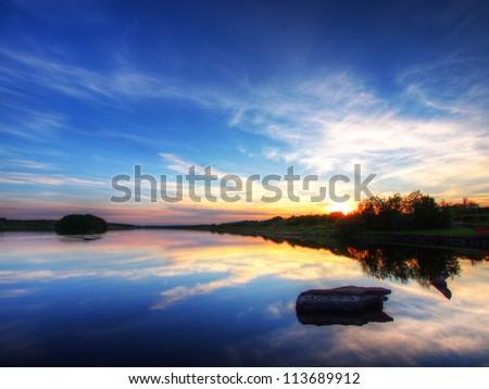 Peaceful lake, Ireland. - stock photo