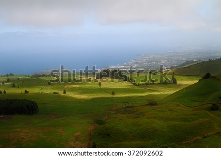 Peaceful landscape in  Sao Miguel island in Azores - stock photo