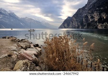 peaceful morning at northern shores of Lake Garda, Italy - stock photo