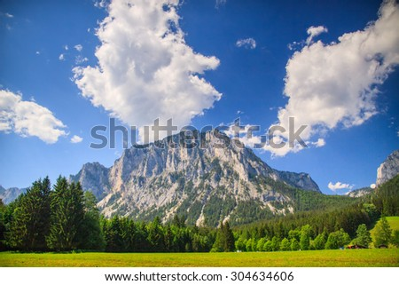 Peaceful mountain view during late afternoon - stock photo