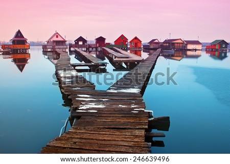 Peaceful night on the lake - stock photo