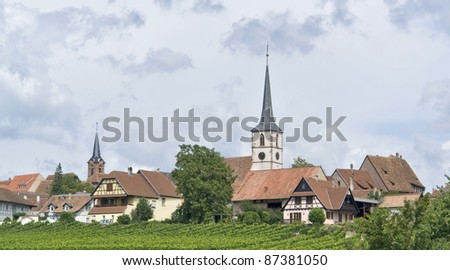 peaceful scenery showing Mittelbergheim, a village of a region in France named Alsace - stock photo