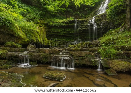 Peaceful trickling waterfall in green summer forest with small cascade. Scaleber Force, Yorkshire Dales, UK.