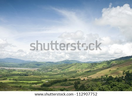 Peaceful valley at Mekhong river side in Thailand - stock photo