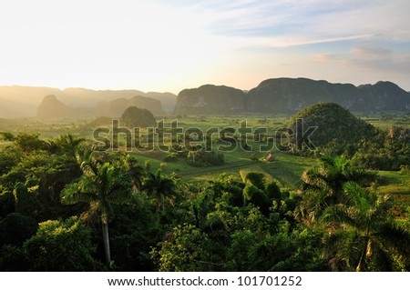 Peaceful view of Vinales valley at sunset - stock photo