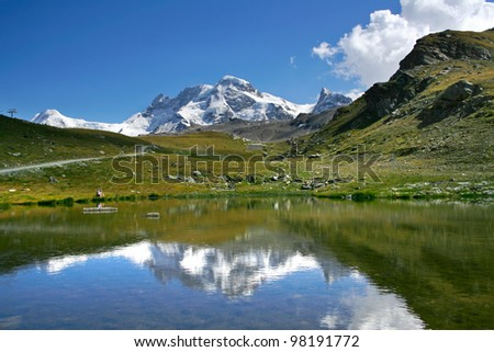 peaceful view on the Swiss Alps - stock photo
