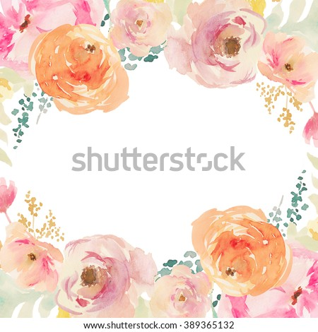 Peach and Orange Watercolor Flower Frame. Watercolor Floral Background. Painted Flower Background.