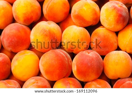 Peach close up fruit background - stock photo