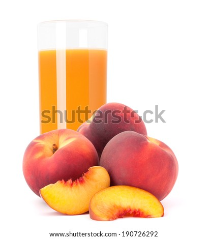 Peach fruit juice in glass isolated on white background cutout - stock photo
