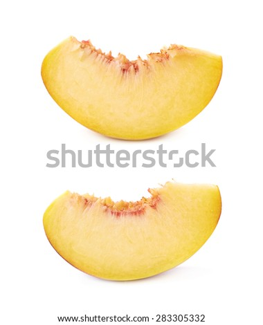 Peach fruit's slice isolated over the white background, set of two different foreshortenings - stock photo