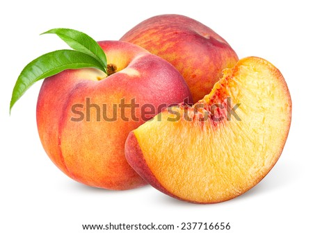 Peach. Fruit with slice isolated on white background - stock photo