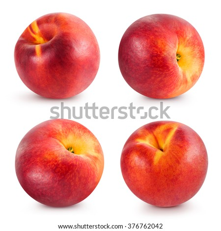 Peach fruits collection isolated Clipping Path