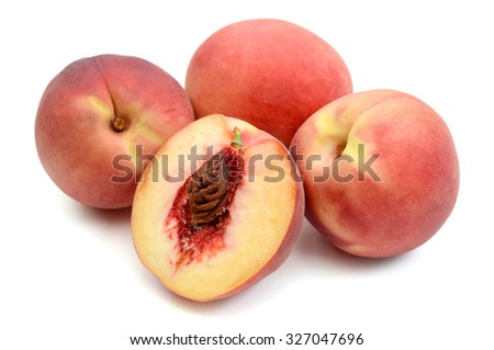 peach fruits isolated on white