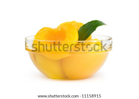 Peach halves in light syrup. Isolated on white - stock photo