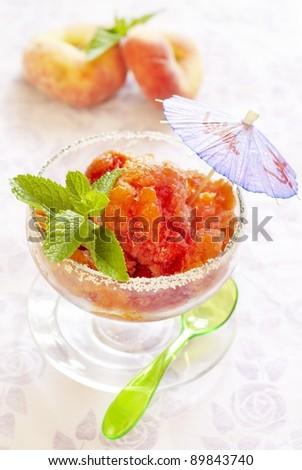 Peach ice-cream - stock photo