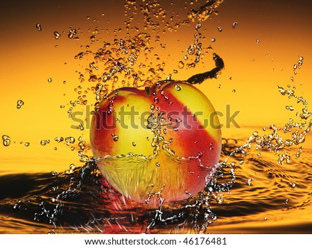 peach in the water spray - stock photo
