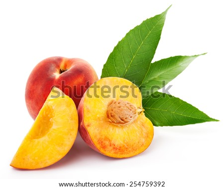 peach isolated on white background Clipping Path - stock photo