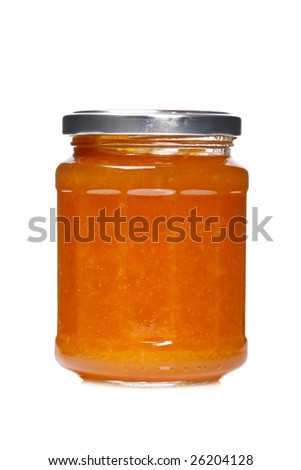 Peach jam glass jar reflected on white background - stock photo