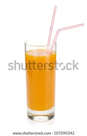 Peach juice in a glass with drinking straw. Isolated on white background