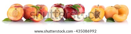 Peach nectarine apricot peaches nectarines slice half fruit fruits isolated on a white background