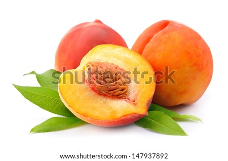 peach on a white background  - stock photo