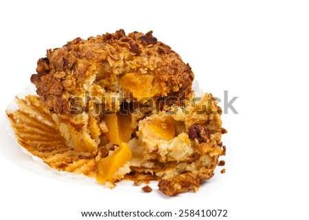 Peach Pecan and Granola Muffins on white background. Selective focus. - stock photo