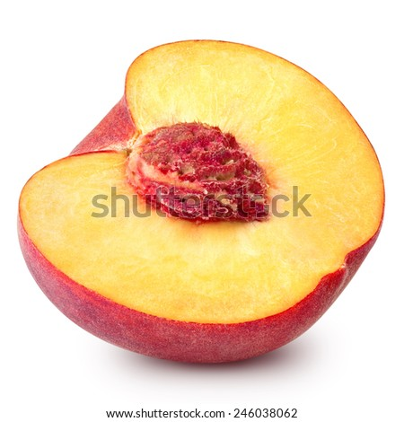 peach slice isolated on white background Clipping Path  - stock photo