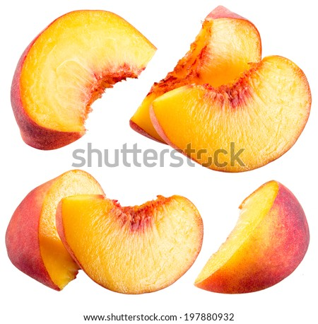 Peach slices isolated on white background - stock photo