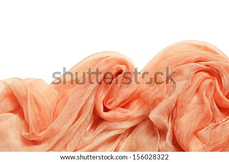 Peach viscose fabric with drapery isolated on white - stock photo