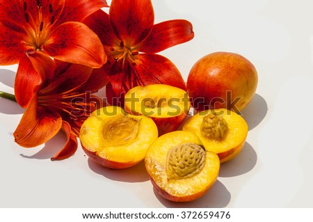 peaches. a round stone fruit with juicy yellow flesh and downy pinkish-yellow skin.  Peach. Fruit with slice on white background.  - stock photo