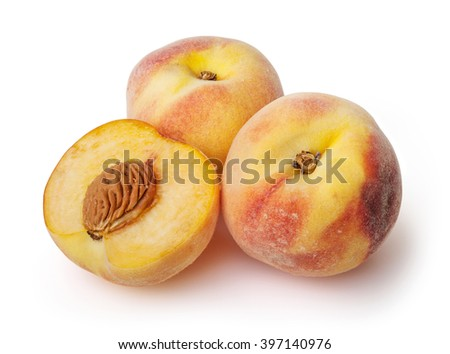 Peaches isolated on white background with clipping path - stock photo