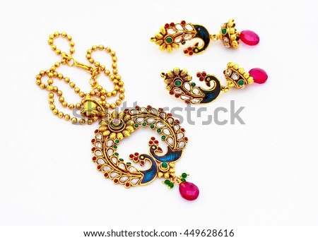 peacock style necklace and ear ring set with amazing Indian work