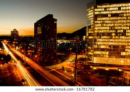 Peak hour traffic at sunset - stock photo