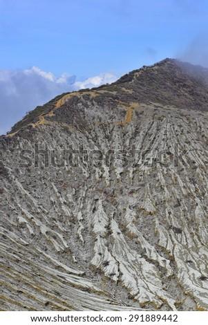 Peak of Kawah Ijen active volanic crater in East Java, Indonesia - stock photo