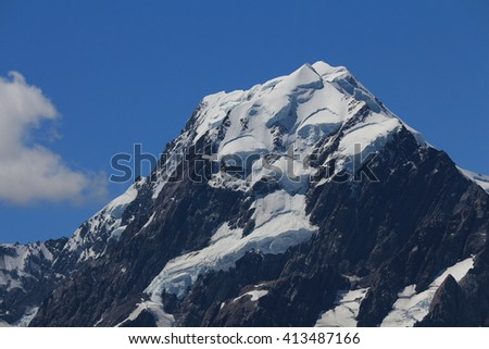 Peak of Mt Cook and glacier. Highest mountain in New Zealand. - stock photo