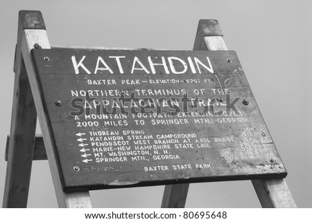 Peak sign at Mt. Katahdin in Baexter state park. - stock photo
