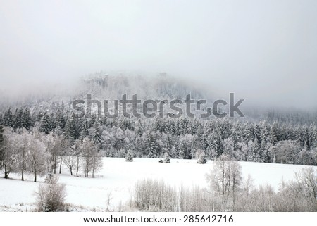 Peak Szczeliniec Great in the clouds. Winter in Table Mountain National Park, Poland. Gloomy day. - stock photo