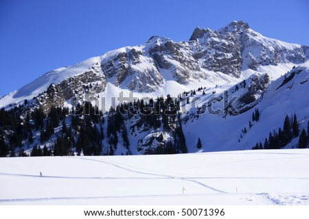 peaks in the French, Swiss border near Geneva and Mont Blanc - stock photo