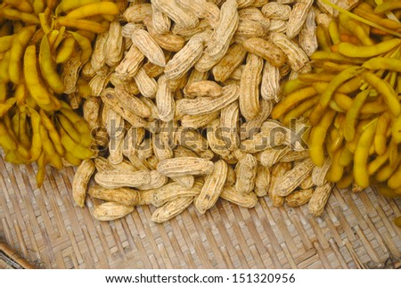 Peanut and soy bean on bamboo basket