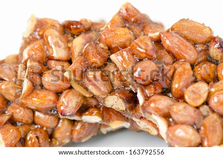 Peanut brittle, isolated - stock photo