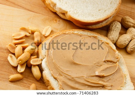 Peanut Butter and peanuts show a classic allergen that affects children and adults - stock photo