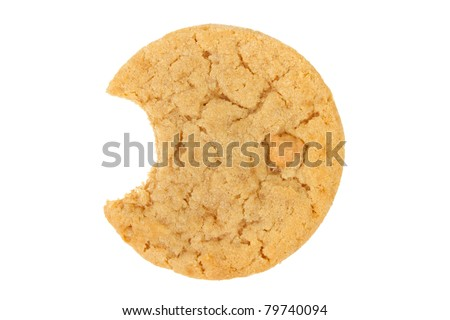 Peanut Butter Cookie with Bite Isolated on a White Background - stock photo