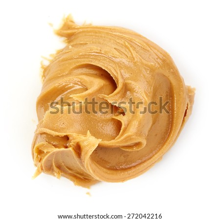 peanut butter isolated on white background - stock photo