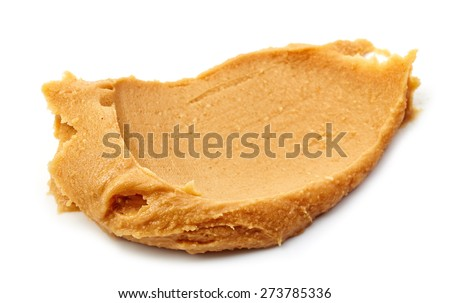 peanut butter spread isolated on white background - stock photo