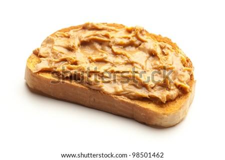 peanut butter toast bread isolated on white - stock photo
