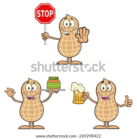 Peanut Cartoon Character 4. Raster Collection Set Isolated On White - stock photo