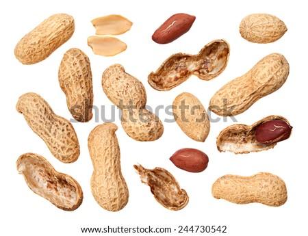 Peanut closeup background isolated on white - stock photo